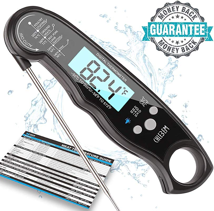 Digital Meat Thermometer Instant Read For Grilling Cooking Food BBQ Or Candy Wireless Waterproof Long Probe For Kitchen Steak Oven Grill Beer Milk Water Bath Water Indoor Outdoor Black