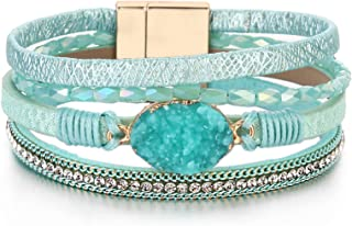 FANCY SHINY Leather Wrap Bracelet Boho Cuff Bracelets Crystal Bead Bracelet with Magnetic Clasp Jewelry Gifts for Women Teen Girls