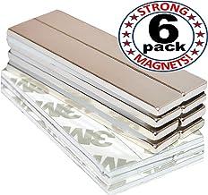 Strong Magnets Rare Earth Neodymium: Bar Super Permanent Metal Rectangular Adhesive, 60x10x3mm, Powerful Pull Force, 6 Piece  Heavy Duty, Fridge Door, Garage, Kitchen, Science, Craft, Art, Office, DIY