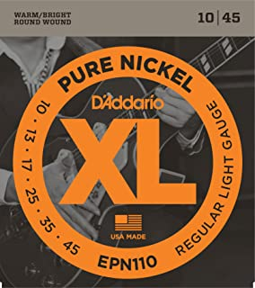 DAddario EPN110 Pure Nickel Electric Guitar Strings, Regular Light, ...