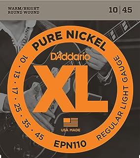 DAddario EPN110 Pure Nickel Electric Guitar Strings, Regular Light, ...