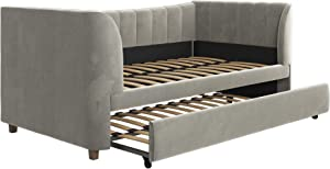 Little Seeds Valentina Upholstered Trundle, Twin Size, Gray Velvet Daybed