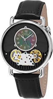 Stuhrling Original Men's Quartz Watch With Black Dial Analogue Display and Black Leather Strap 693.02