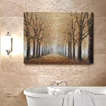Ejart Tree Wall Art for Living Room Hand-Painted Forest Oil Painting Framed Yellow Grove Artwork Autumn Landscape Canvas Print for Living Room Bedroom Home Decorations Wall Decor Large 36