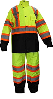 RK Safety RW-CLA3-TLM55 Class 3 Rain suit, Jacket, Pants High Visibility Reflective Black Bottom with X Pattern (Extra Large, Lime)