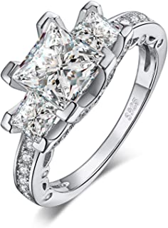 3 Stone Cubic Zirconia Promise Wedding Engagement Ring 925 Sterling Silver