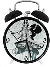 one-six-one Statue of Athena on Baroque Background Ancient Greek MythologyDesk Clock Home Office Unique Decorative Alarm Ring Clock 4in