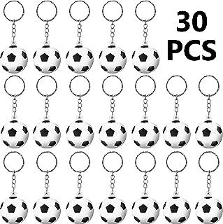 Blulu 30 Pack Soccer Keychains Soccer Stress Ball Sports Ball Keychains Soccer Key Chain for Boys School Carnival Reward, Party Bag Gift Fillers (Soccer)