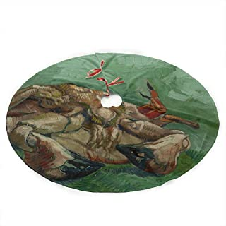 Jnseff Christmas Tree Skirt Crab On Its Back by Vincent Van Gogh Print Skirt Christmas Tree Polyester Santa Tree Skirt Carpet for Party Holiday Decorations Xmas Ornaments