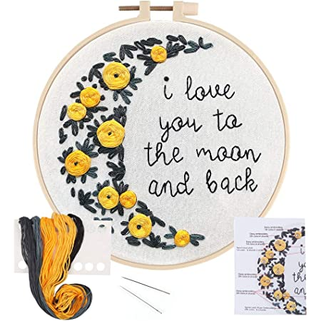 Uphome Embroidery Kit for Beginners 7.9 Inch DIY Cross Stitch Kits with Fox Stamped Pattern Needlepoint Starter Kits with Hoop Threads Needles Instruction for Adults Kids Wall Decor
