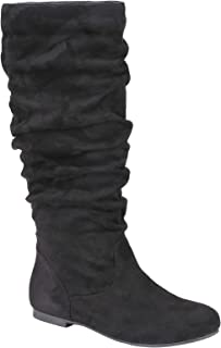 Weeboo Nola-5 Vegan Suede Boot for Women's - Ruched Knee High Flat Bootie