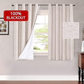 H.VERSAILTEX Thermal Insulated Waterproof 100% Blackout Faux Linen Room Darkening Curtains for Bedroom 52 inch Wide 63 inch Long Energy Efficient Window Curtain Panels (Natural, 2 Panels)