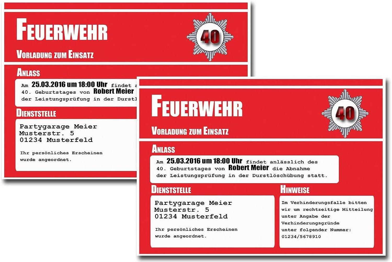 Einladungskarten Feuerwehr B014MI6ZGS | | | Wunderbar  | Niedriger Preis und gute Qualität  | Glücklicher Startpunkt  a55b5e