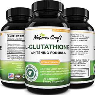 Pure Glutathione + Milk Thistle Extract Supplement - Potent Antioxidant for Immune System Support - Natural Skin Whitening...