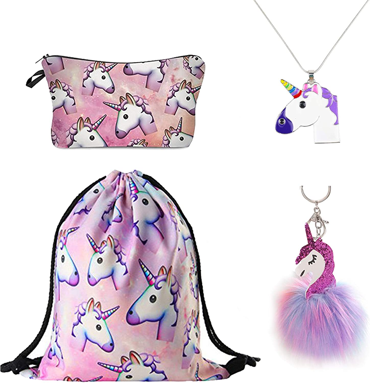 Las Vegas Mall DRESHOW 4 Pack Unicorn Gifts Girls Makeu List price for Drawstring Backpack
