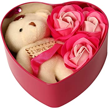 HOMOKART Artificial Heart Shape Gift Box And Teddy & Rose (Red, 1 Teddy, 3 Fragrant Rose Bud Petal Soap, 1 Heart Shape Tin Box, 1 Heart Tag)