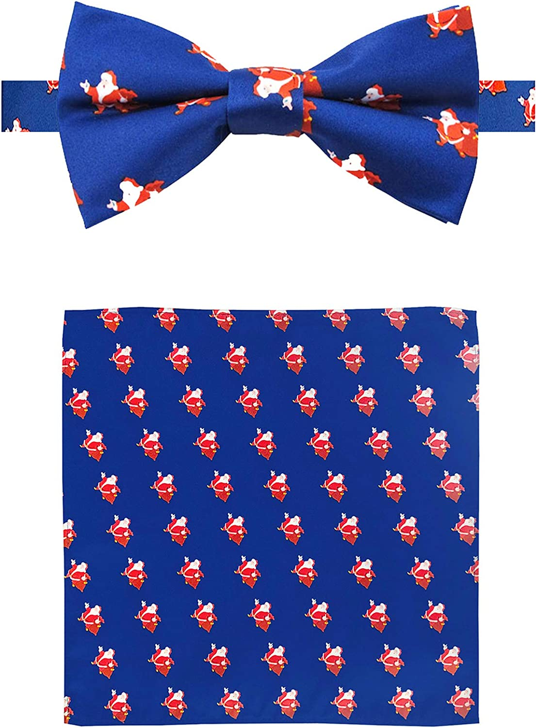 Jacob Alexander Men's Merry Christmas Jolly Ole Santa Pre-Tied Banded Bow Tie and Pocket Square Set