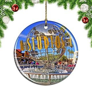 Weekino USA America Universal Studios Hollywood Los Angeles Christmas Xmas Tree Ornament Decoration Hanging Pendant Decor City Travel Souvenir Collection Double Sided Porcelain 2.85 Inch