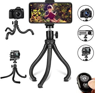 Phone Tripod, Flexible Cell Phone Tripod Adjustable Camera Stand Holder with Wireless Remote and Universal Clip 360° Rotat...