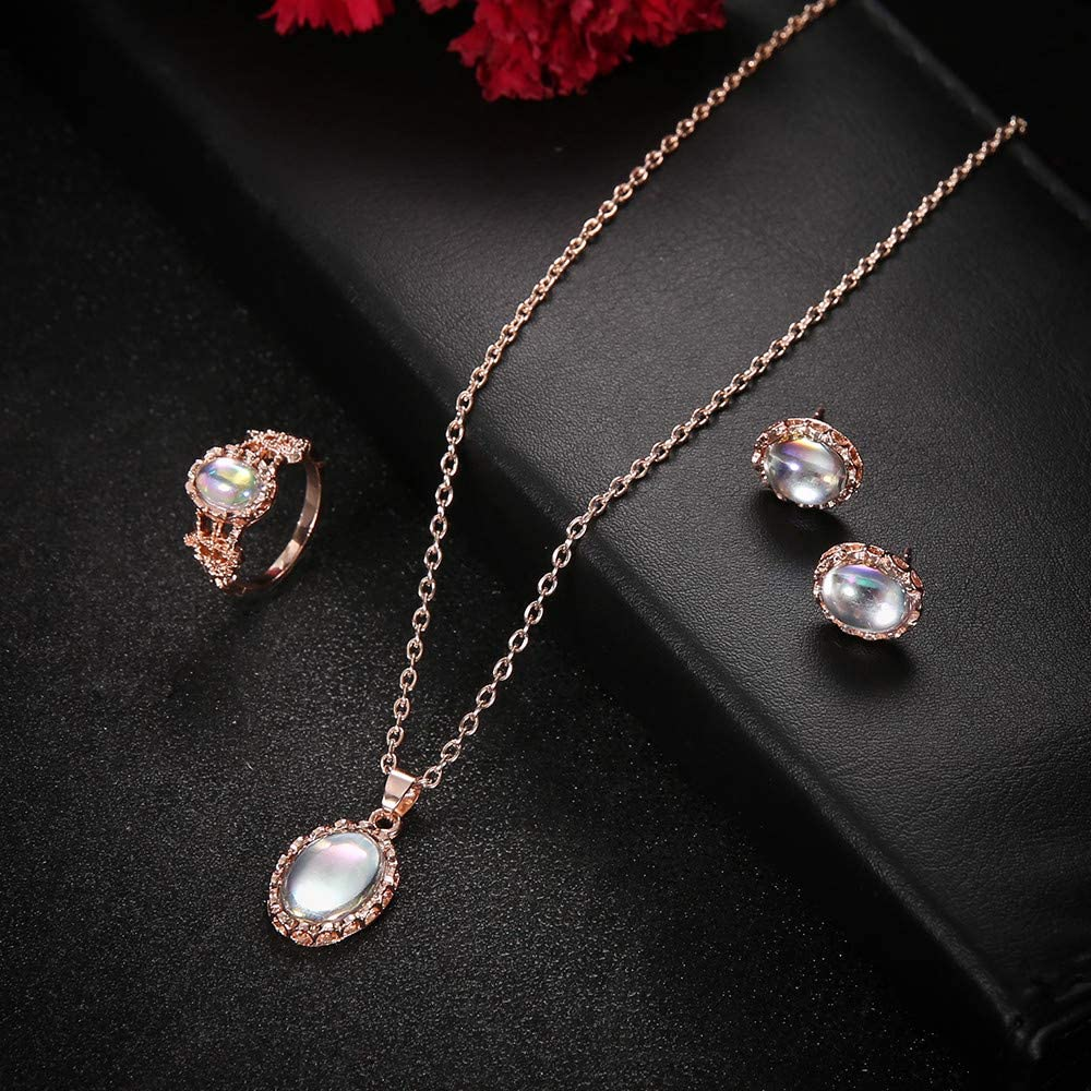 Women Opal Jewelry Set inculd Ring Necklace Earring, Round Opal White Stone Hand Jewelry Fashion Diamond Elegant Ring Necklace Earring Three-Piece Suit