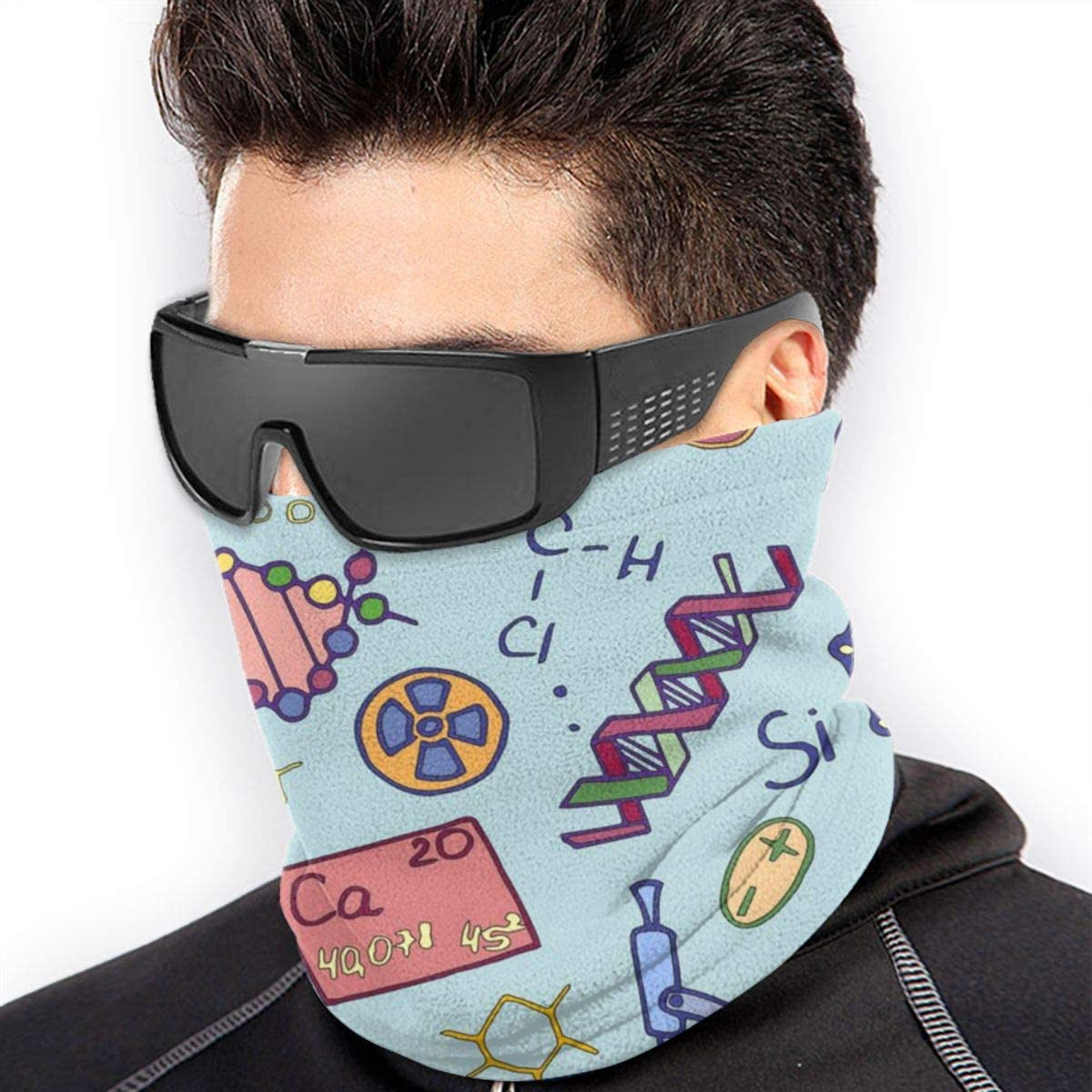 CLERO& Scarf Fleece Neck Warmer Science Chemistry Pattern Cute Windproof Winter Neck Gaiter Cold Weather Face Mask for Men Women