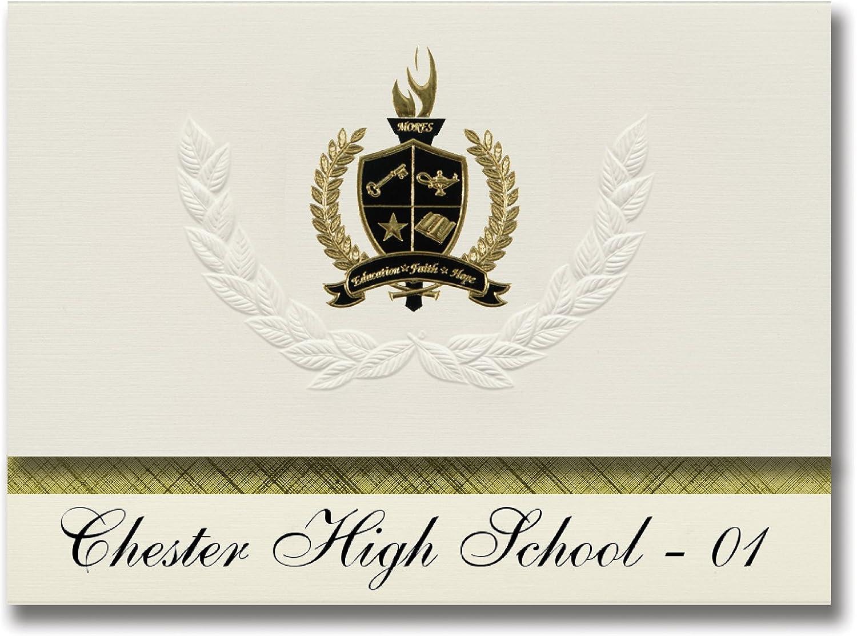 Signature Ankündigungen Chester Chester Chester High School – 01 (Chester, SD) Graduation Ankündigungen, Presidential Stil, Elite Paket 25 Stück mit Gold & Schwarz Metallic Folie Dichtung B078VCVDSN   | Mittel Preis  9df093