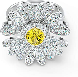 SWAROVSKI Authentic Eternal Flower Ring Movable Yellow Rhodium Plated Size 7