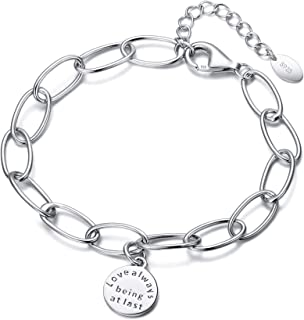 Cosol Silver Women's 925 Sterling Silver Daily Interlocking Oval Link Bracelet Birthday Gift for Her