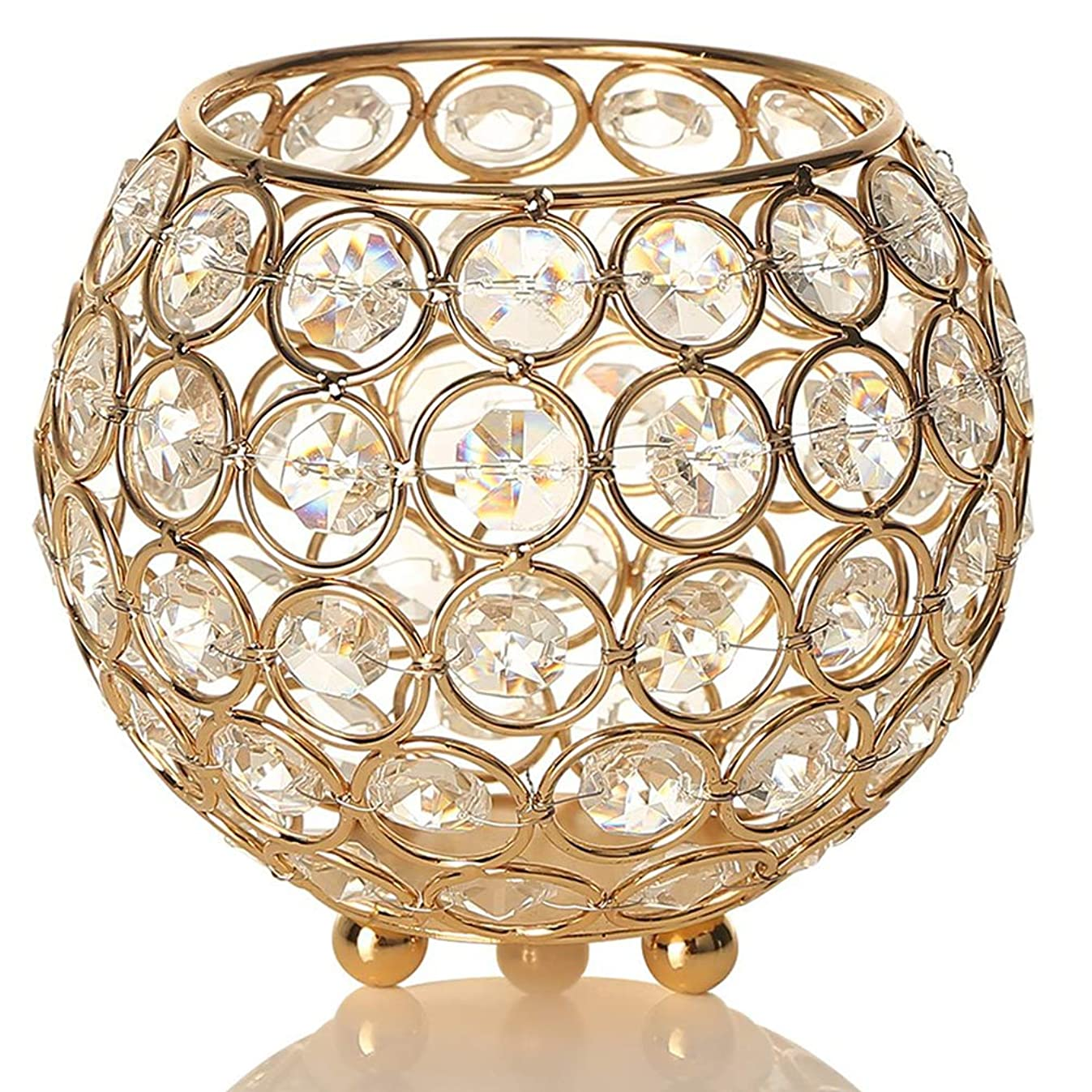 METCRY Crystal Candle Holders/Spherical Candle Holder for Coffee Table, Christmas, Valentine's Day, (4.8 inches,Gold)