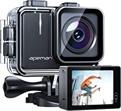APEMAN A100 Action Camera 4K 30fps Ultra HD 20MP WiFi Sports Underwater Waterproof 40M Camcorder cam with EIS Dual 1350 mAh Batteries and Mounting Accessories Kit