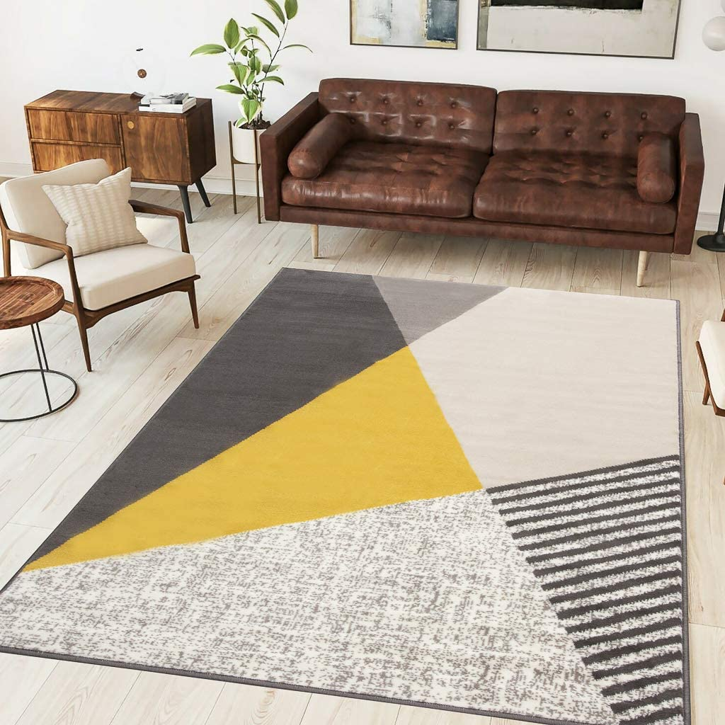 Ochre Yellow Modern Bold Geometric Rug Milwaukee Mall Area Gray Living Bed Room San Jose Mall