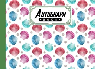 """Autograph Book: shells Cover   Autograph Book for Adults & Kids, 150 Blank Pages, Starlight Design, Keepsake, Size 8.25"""" x..."""