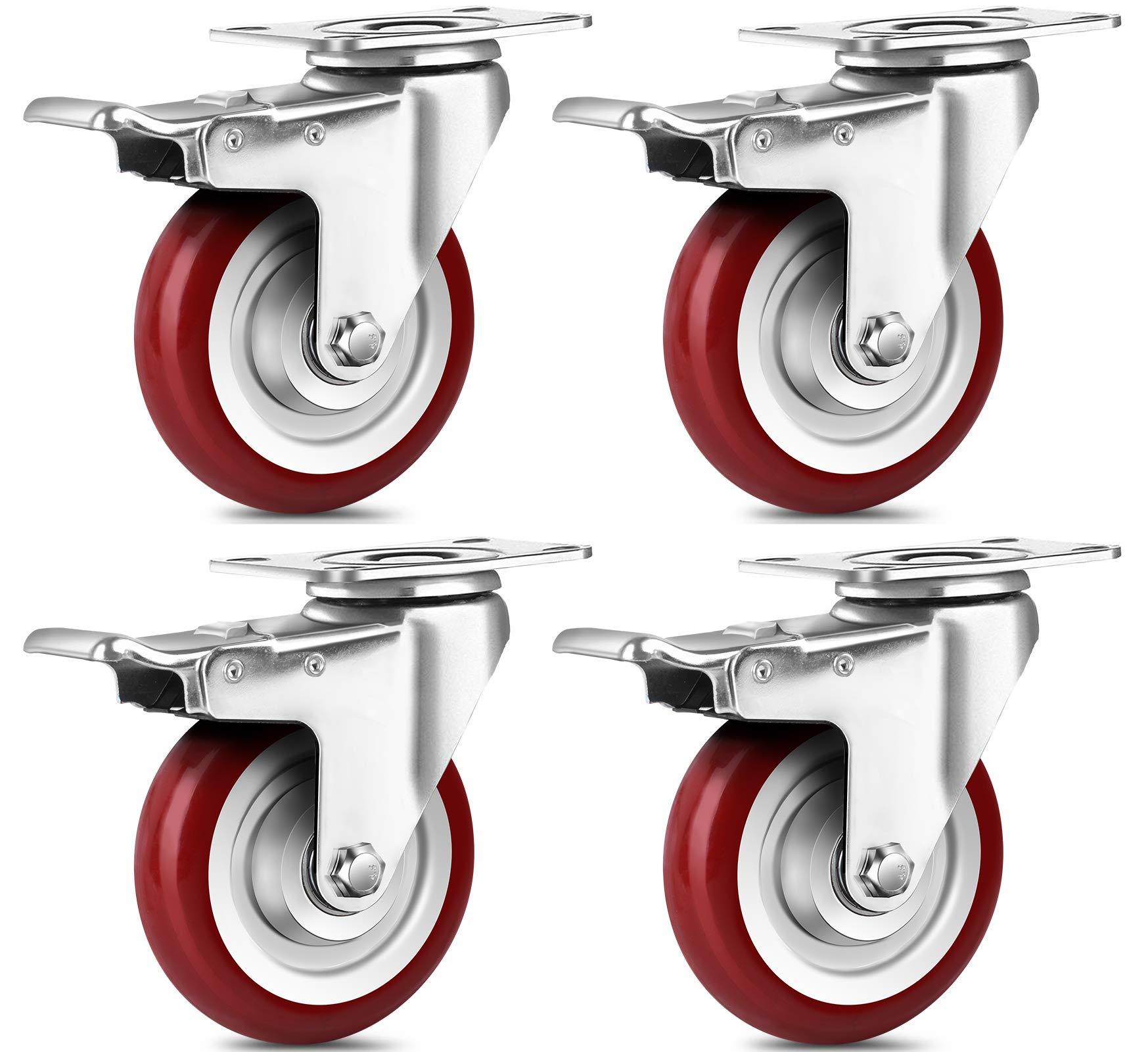 "24 LOT Swivel Plate Casters 2.5/"" Polyurethane Wheel Total Lock Brake ALL BLACK"