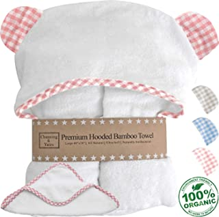 Channing & Yates - Premium Baby Towels for Girls - Hooded Girl Towel & Washcloth Set - Certified Organic Bamboo Baby Towels with Hood - Baby Girl Bath Towels (Pink)