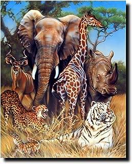 Zoo Exotic Collage (Giraffe, Rhino, Elephant And Tiger) African Safari Animal Art Print Poster (16x20)
