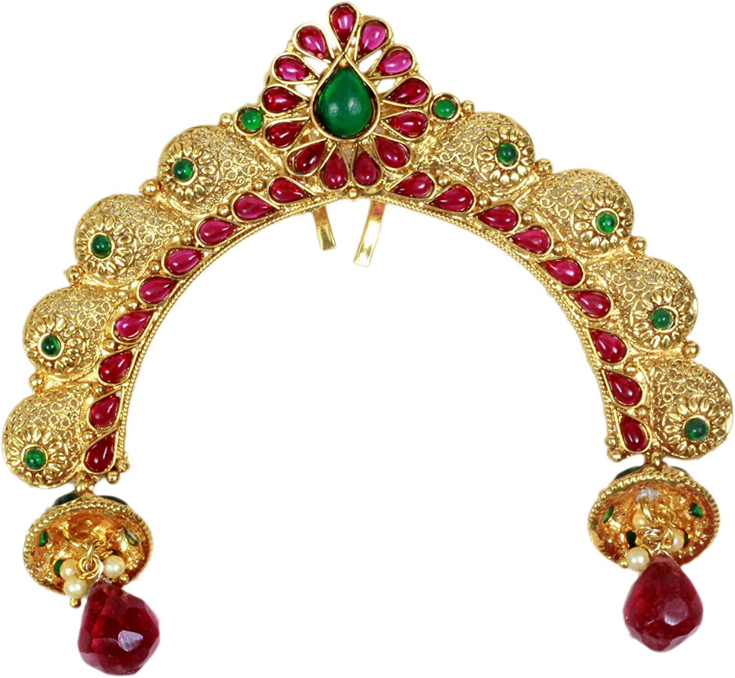 SANARA Indian Traditional Gold Plated Ruby Green Stone Made Hair Pin Women Wedding & Party Wear Jewelry