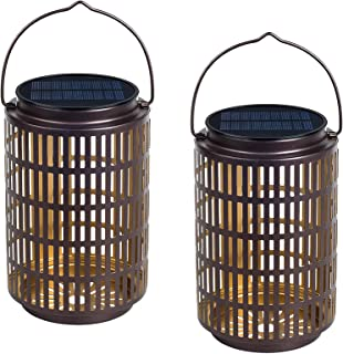 2 Pack Outdoor Hanging Solar Wall Lanterns Metal Garden Solar Lights for Backyard Tree Patio Deck Porch Pathway Decorative