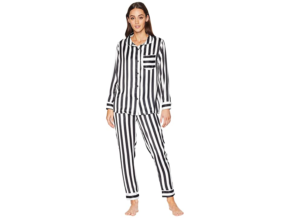 Plush Silky Striped PJ Set (Black/White) Women