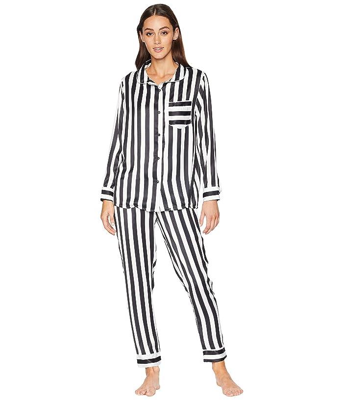 Plush Silky Striped PJ Set (Black/White) Women