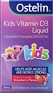 Ostelin Kids Vitamin D3 Liquid - Helps keep muscles and bones strong - Promotes calcium absorption, 20 mL