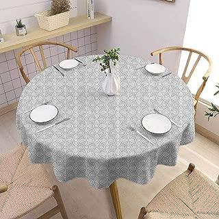 UETECH Overlays Round Tablecloth Grey Decor Floral Flower Pattern Four Leaf Petals Feminine Embellished Vintage Bud Trendy Art Image Buffet Table Holiday Dinner Picnic D50