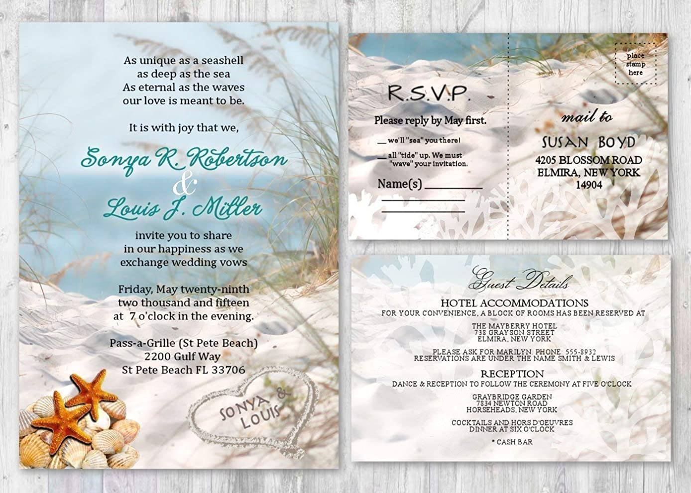 Beach Theme Wedding Invitations and response card Set of 50