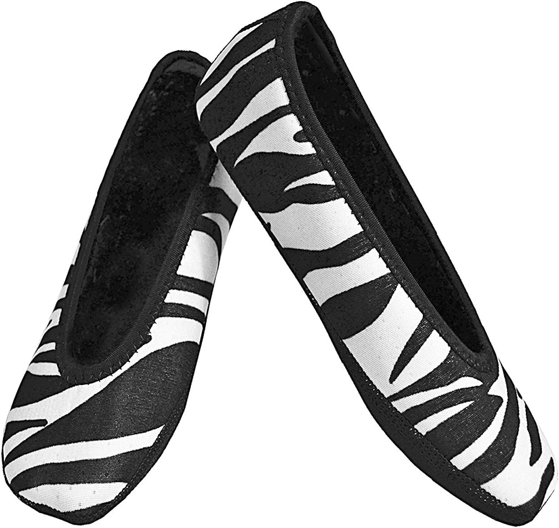 NuFoot Ballet Flats Women's shoes, Best Foldable & Flexible Flats, Slipper Socks, Travel Slippers & Exercise shoes, Dance shoes, Yoga Socks, House shoes, Indoor Slippers, White Zebra, Medium