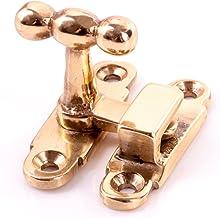 2x CABINET//DRESSER FASTENER Solid Brass Showcase Door Closer Catch Turn Lock