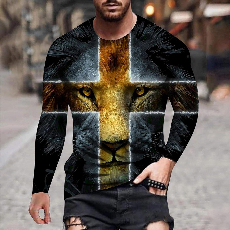 Aayomet T-Shirts for Men Fashion Cross Printed Long Sleeve Crewneck Sweatshirts Casual Workout Sport Tee Shirts Blouses Tops