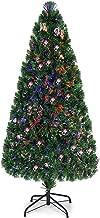 Goplus Artificial PVC Christmas Tree Pre-Lit Fiber Optic Tree with Metal Stand (6 FT)
