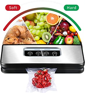 Vacuum Sealer Machine, Winjoy Automatic Food Sealer for Food Savers Starter Kit Touch Pannel and LCD Display Dry & Moist Food Modes  Compact Design (Silver) …