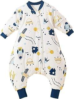 Bebé Saco de Dormir con Pies Mono Invierno Pijama Niño Niña Infantil Mameluco con Mangas Desmontables Recién Nacido Pelele Algodón con Piernas Separados - 0-5 Años
