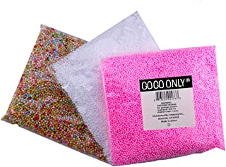 GOGOONLY Pack of 3 Mini Styrofoam Foam Balls 0.08-0.18 Inch Household School Arts Crafts Supplies Fits for Stick to Slime - White, Pink and Multi Mixed Color (30000 Foam Balls)