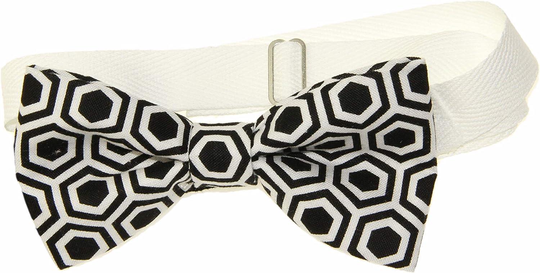 Men's Black/White Geometrical Pre-Tied Cotton Bow Tie On Adjustable Twill Strap